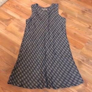 FLAX Gray & Navy Blue Plaid Tank Dress